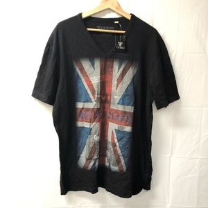 GUESS 2XL Black Flag Printed graphic tee shirt